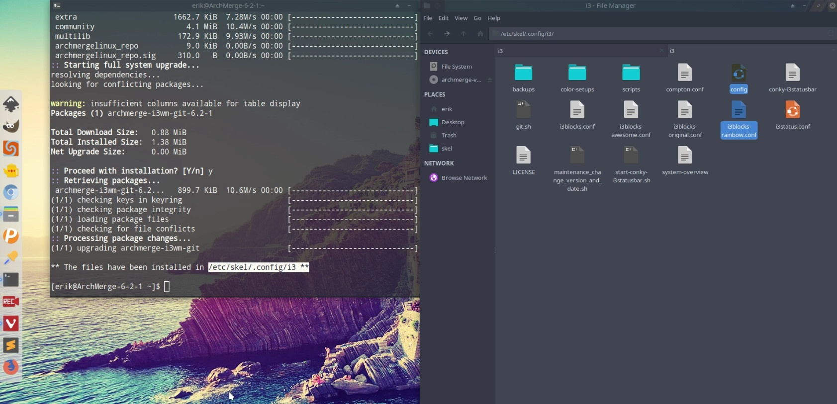 Rolling Release – Update of ArcoLinux i3 package coming in