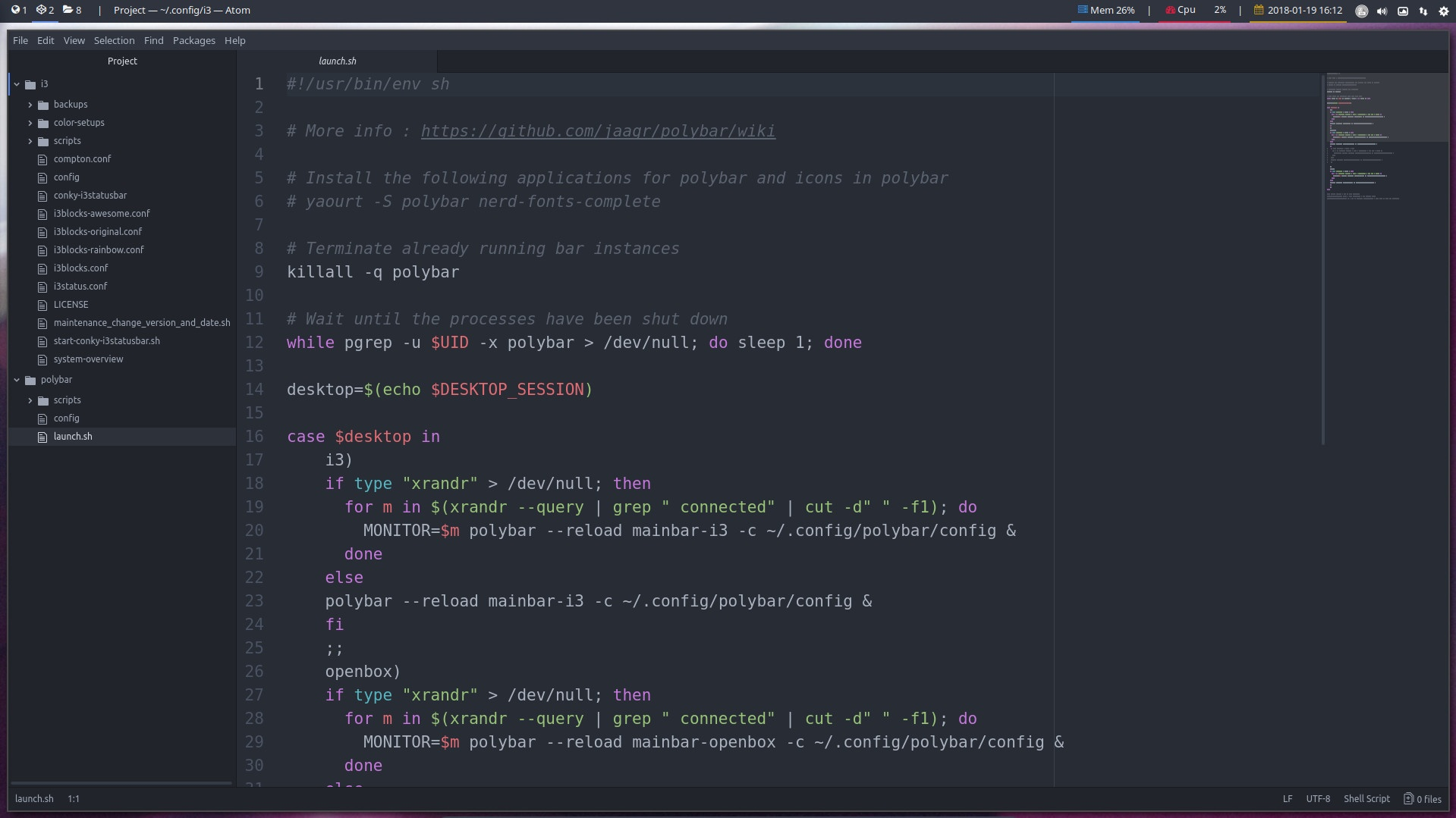 Use the atom editor to change the colors in your i3 config