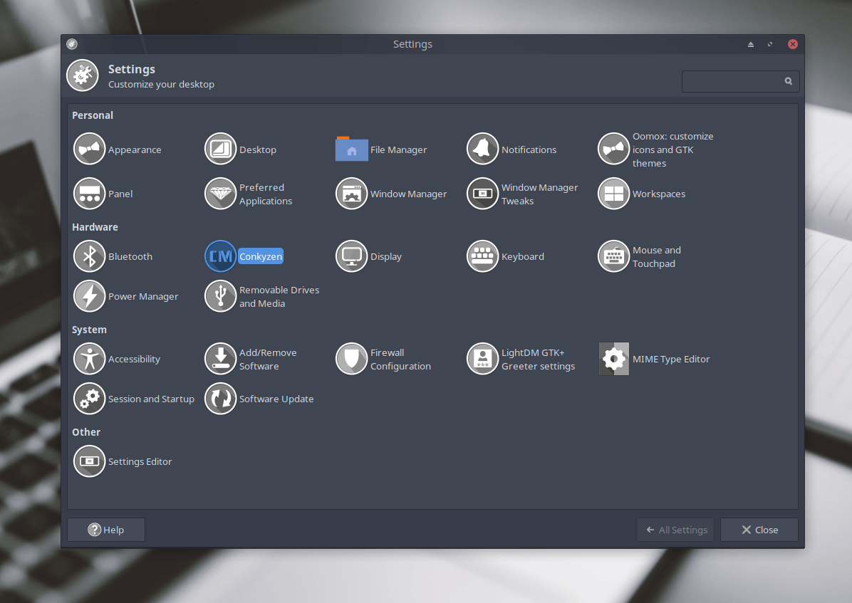 How to add shortcuts to xfce settings manager