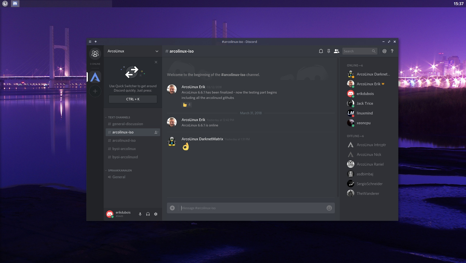 Discord is there to chat with the ArcoLinux team, ArcoLinux Betatesters and the ArcoLinux users