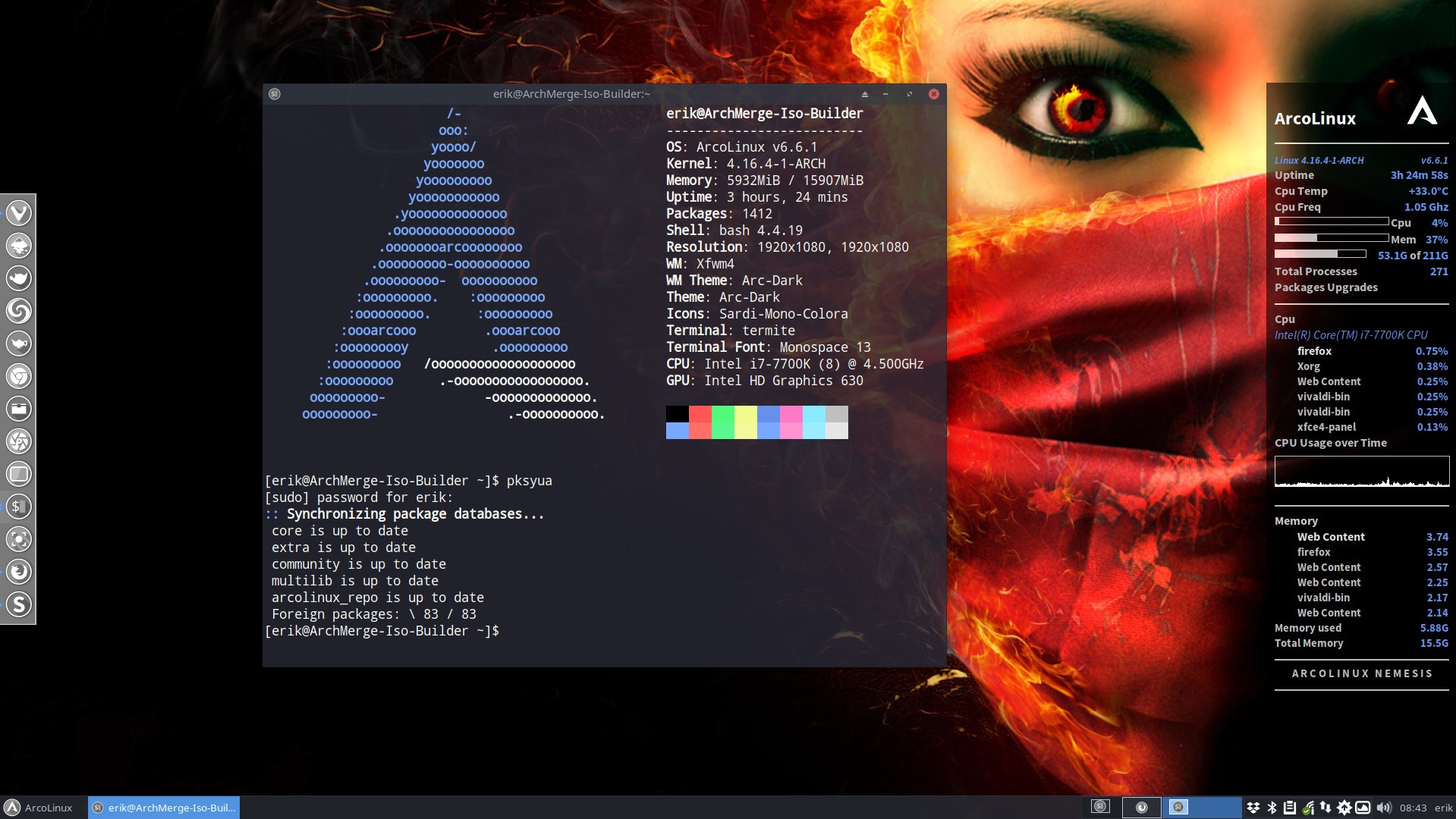Update your system using the terminal and upall or pksyua