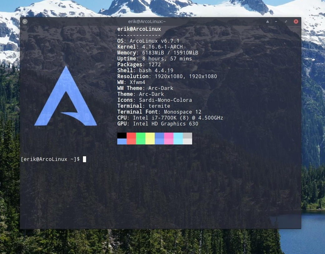 How to get the logo of ArcoLinux back in neofetch/termite