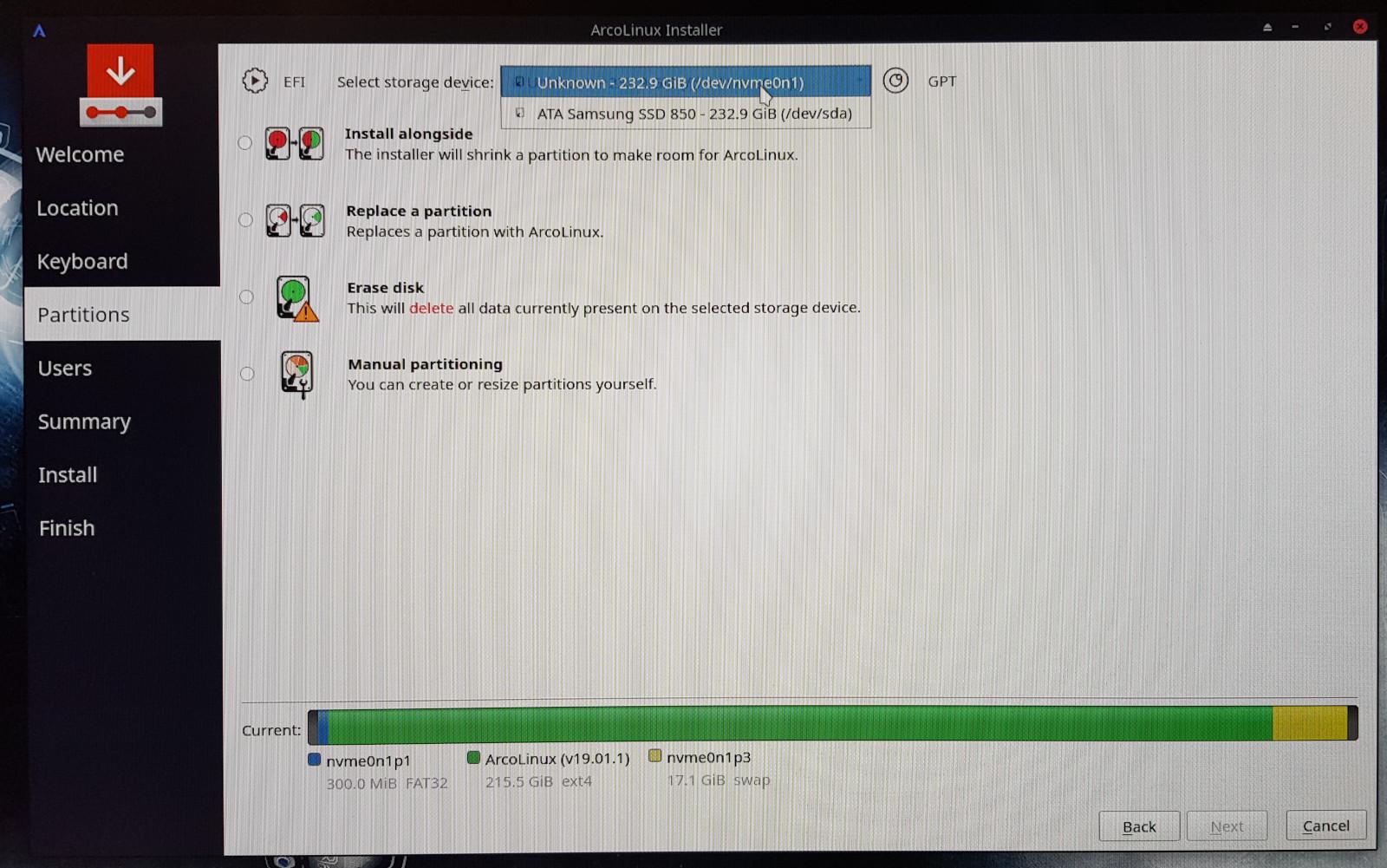 Installing ArcoLinux on Samsung 970 Evo NVMe M 2 | Arcolinux com