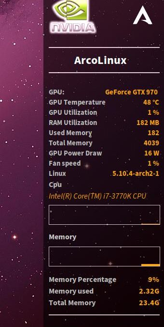 The creation of a conky – AUR-Nvidia – Nvidia drivers must be functional