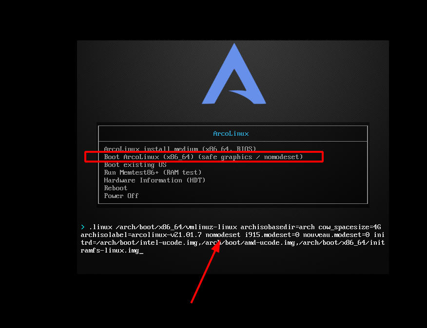 Unable to boot into ArcoLinux – pass on parameters to the Linux kernel